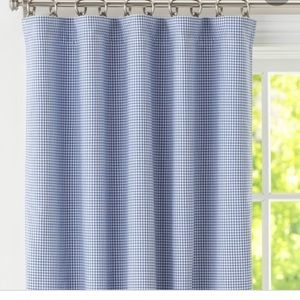 2 POTTERY BARN Gingham Curtains • Blue• 44x44